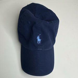 Polo Ralph Lauren Blue Cotton Brown Leather Hat